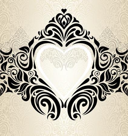 Vintage wedding gold, ecru & black fashionable invitation wallpaper background with hearts ornament