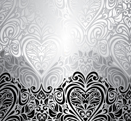 swirl pattern: Black and silver vintage invitation background with red heart