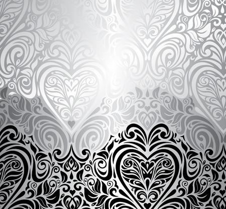 Zwarte en zilveren vintage uitnodiging achtergrond met rood hart Stock Illustratie