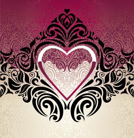 ecru: Fashionable red, ecru and black vintage decorative background design Illustration