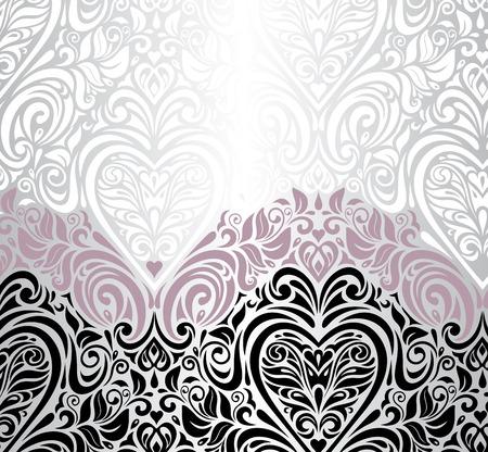 ピンク銀と黒の結婚式のビンテージ花の招待状の背景