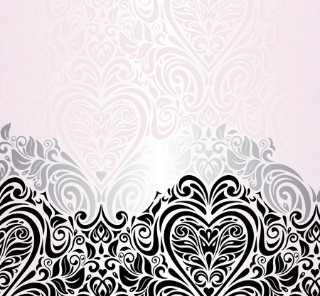 Pink wedding vintage decorative invitation background Illustration