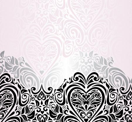 Roze huwelijk vintage decoratieve uitnodiging achtergrond Stock Illustratie