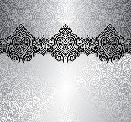 bodas de plata: Diseño de la invitación de plata de moda fondo de la vendimia Vectores
