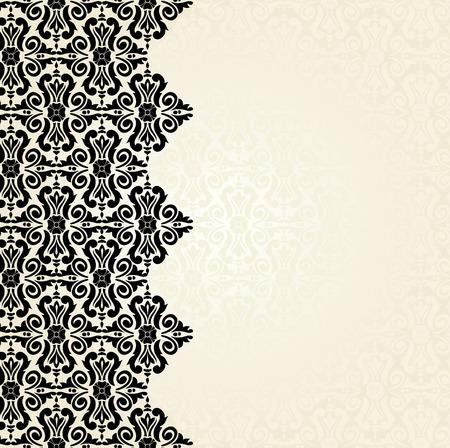 ecru: Ecru & black Fashionable decorative vintage wallpaper design