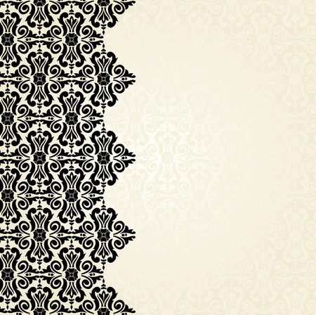 Ecru & black Fashionable decorative vintage wallpaper design