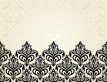 ecru: Pale Fashionable ecru and black invitation design background Illustration