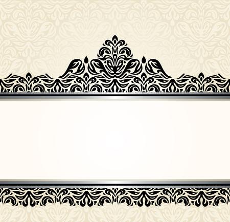 ecru: Vintage Ecru invitation design with black decoration
