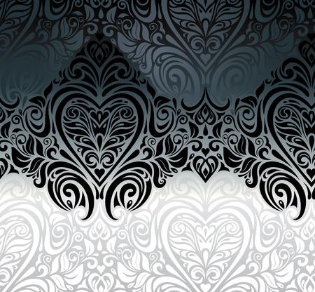 ecru: Wedding vintage Black & White floral invitation background Illustration