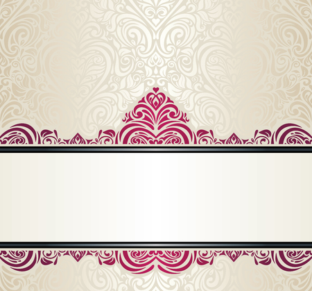 ecru: Wedding vintage Ecru invitation design with red ornaments