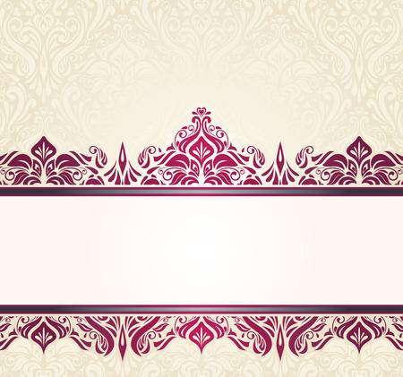 Ecru pale vintage invitation design with red decorative ornaments Vector