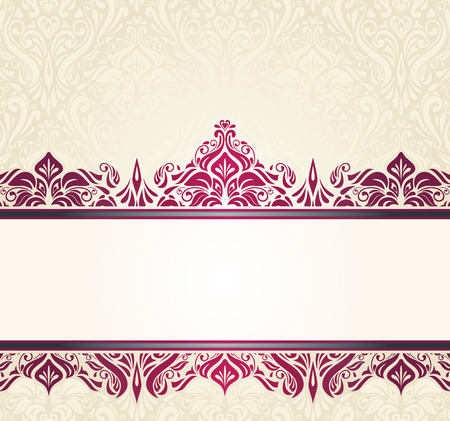 ecru: Ecru pale vintage invitation design with red decorative ornaments