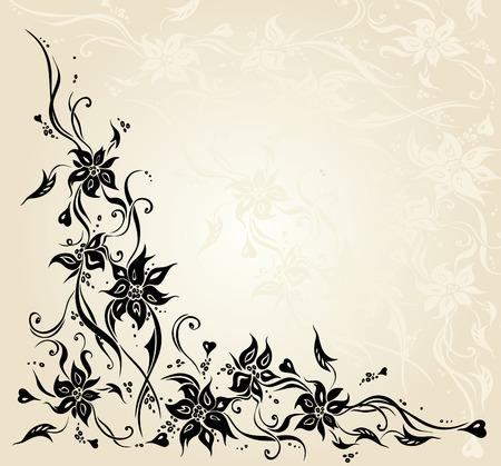 ecru: Ecru vintage floral decorative invitation wedding background design Illustration