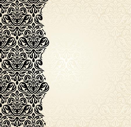 ecru: Fashionable ecru and black invitation design background