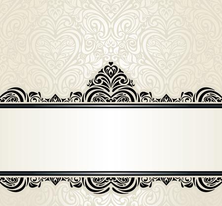 Hochzeits-Weinlese Ecru Einladung Design Hintergrund mit schwarzen Ornamenten Standard-Bild - 39499697