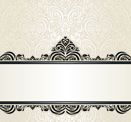 Wedding vintage Ecru invitation design background with black ornaments Çizim