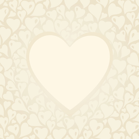 ecru: Wedding vintage Ecru invitation design with copyspace and hearts Illustration