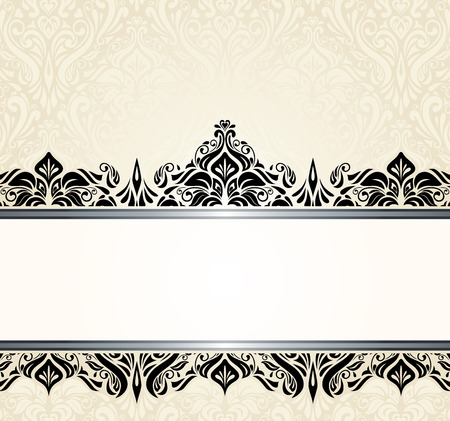 ecru: Ecru pale vintage invitation design with black ornaments
