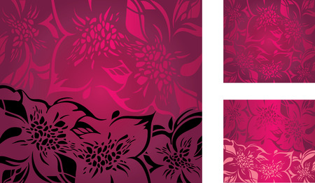 pink floral: Red floral decorative holiday background set with pink and black ornaments