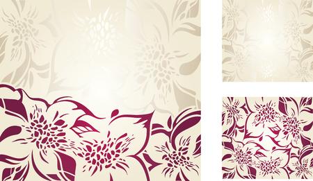 bodas de plata: Crudo floral fondo de vacaciones decorativo conjunto con plata y adornos de color rojo Vectores