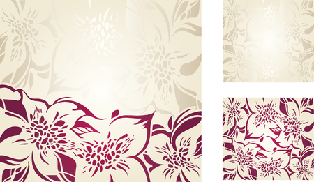 ecru: Ecru floral decorative holiday background set with silver and red ornaments