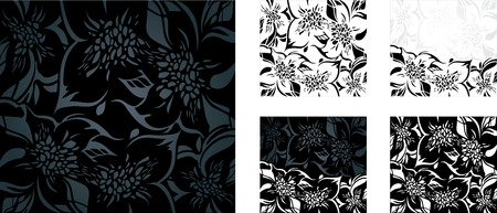 ornaments vector: Black and white floral holiday background set with decorative ornaments