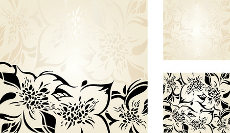 ecru: Beige floral decorative holiday background set with gold and black ornaments Illustration
