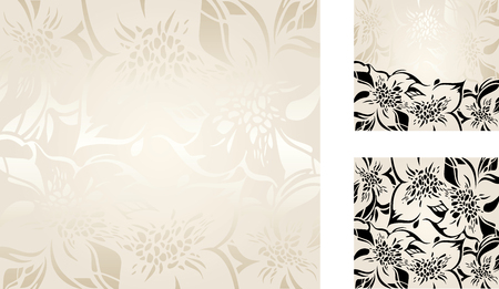 ecru: Ecru floral decorative holiday background set with silver and black ornaments