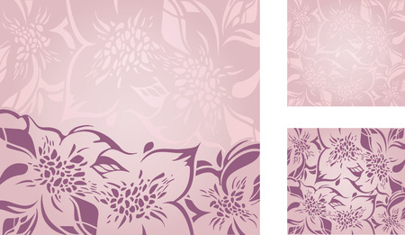 ecru: Pink floral decorative holiday background set with violet and ecru ornaments