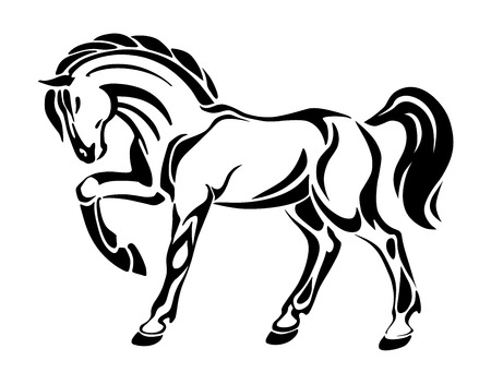 horse jump: Horse tattoo - stylized graphic vector abstract drawing