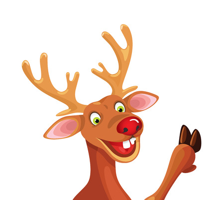 ルドルフ幸せな漫画クリスマスのトナカイのベクトル図