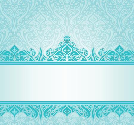 コピー スペースとターコイズ ブルーのビンテージ招待状デザイン