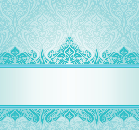 Turquoise vintage invitation design with copy space