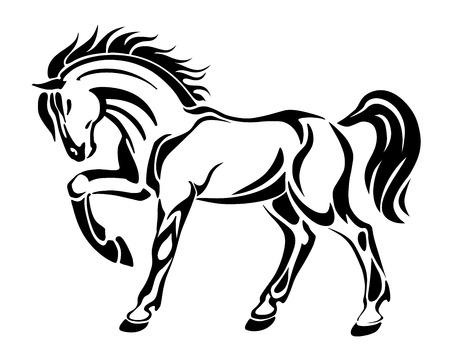 caballo saltando: Caballo tatuaje - estilizado gráfico vectorial ilustración imagen abstracta