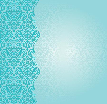 유행 블루 그린 복고풍 터키석 초대장 디자인