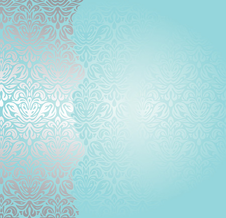 swirl background: Fashionable blue-green turquoise and silver invitation design