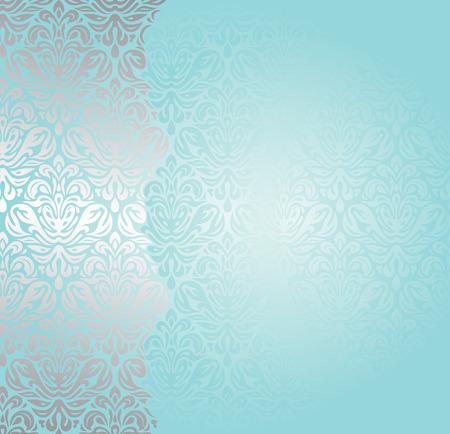 turquesa: Moda azul turquesa-verde y diseño de la invitación de plata Vectores