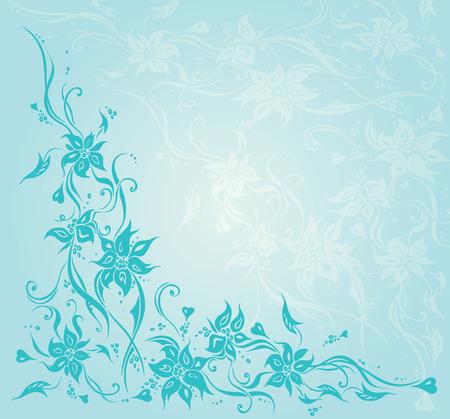 Turquoise green blue vintage floral invitation wedding background design Illustration
