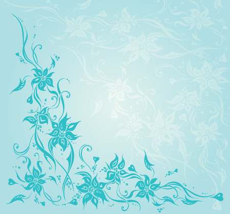 Turquoise green blue vintage floral invitation wedding background design Illustration