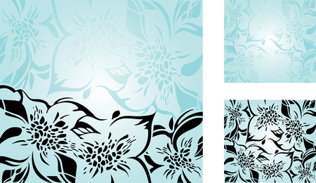 aquamarine: Turquoise floral decorative holiday background set with black ornaments
