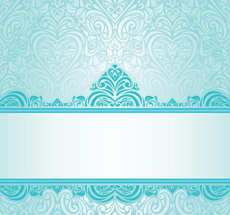 파란색 - 녹색 장식품 웨딩 빈티지 청록색 초대장 디자인