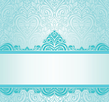 and turquoise: Wedding vintage Turquoise invitation design with blue-green ornaments