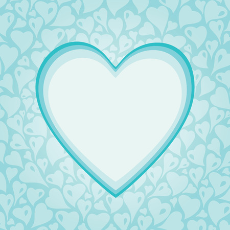 sweet background: Turquoise decorative holiday background with heart elements