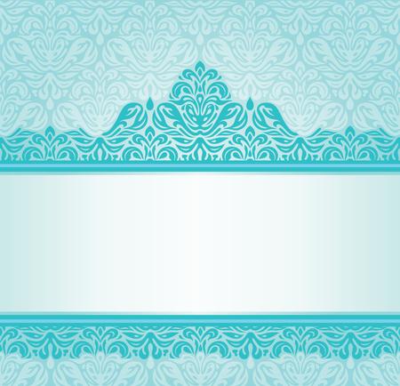 turquesa: Diseño de la invitación retro de la turquesa con adornos azules y verdes Vectores