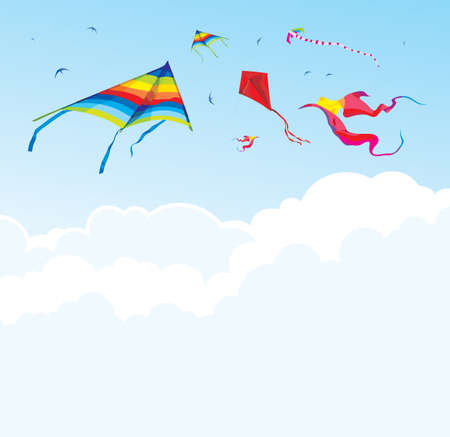panchami: Kites and birds on the background of sky and clouds  vector festival background