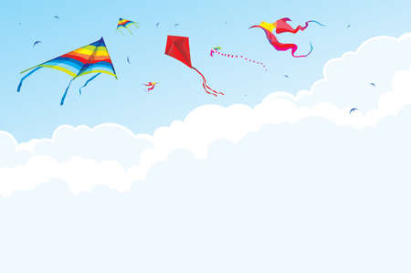 panchami: Kites and birds on the background of sky and clouds - vector illustration background Illustration