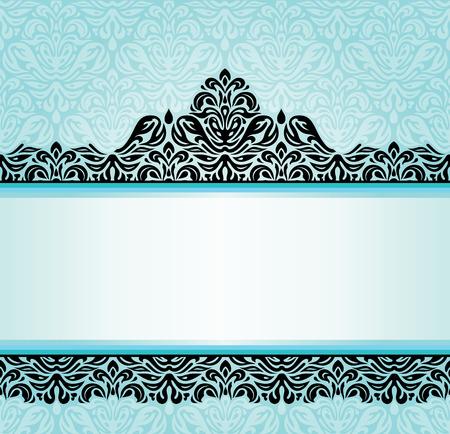 turquoise swirl: Turquoise retro invitation design with black ornaments Illustration