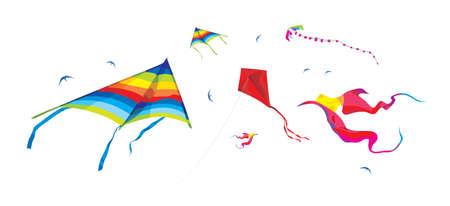 Kites on the white background - vector illustration elements