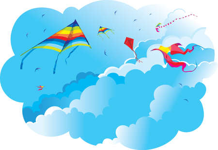 panchami: Kites and birds on the background of sky and clouds  Vasant Panchami holiday background Illustration