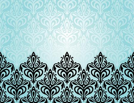 Turquoise decorative holiday background with black ornaments Illustration